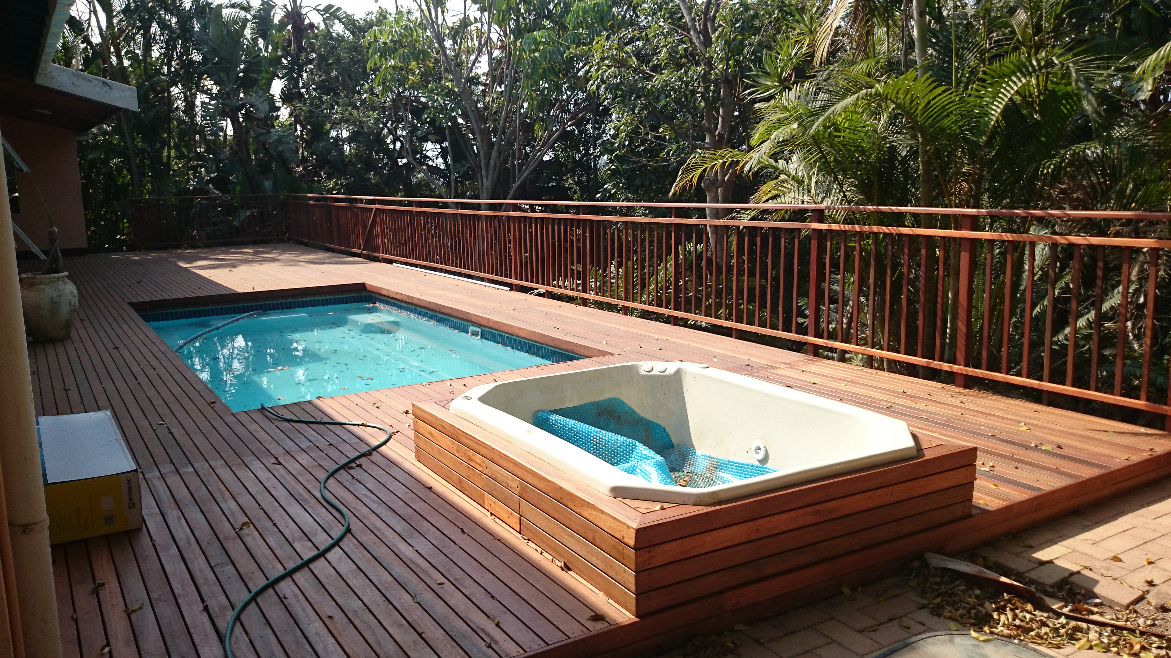 Wooden pool deck built in westville durban the wood joint for Wooden pool