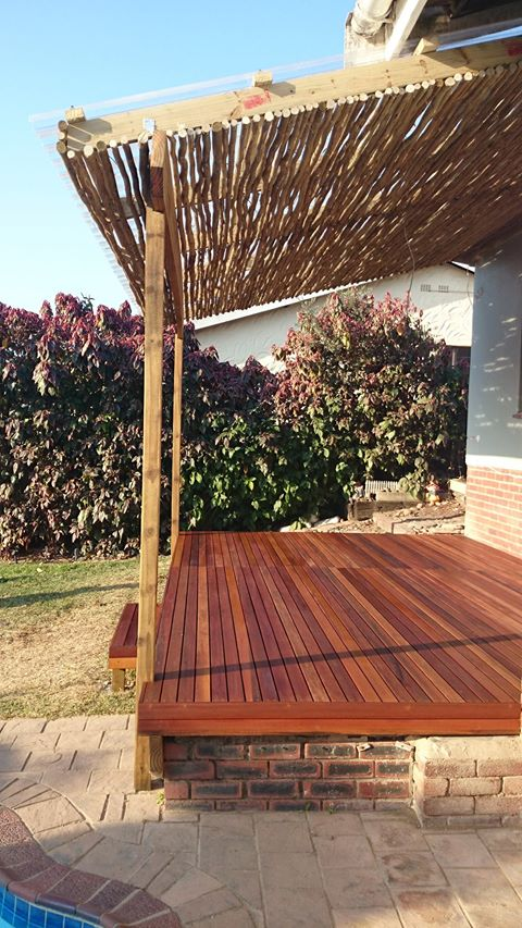 Wooden balau deck built in Malvern, Durban